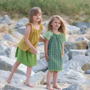 Sommertunika in senfgelb und grünes Kleid für Mädchen