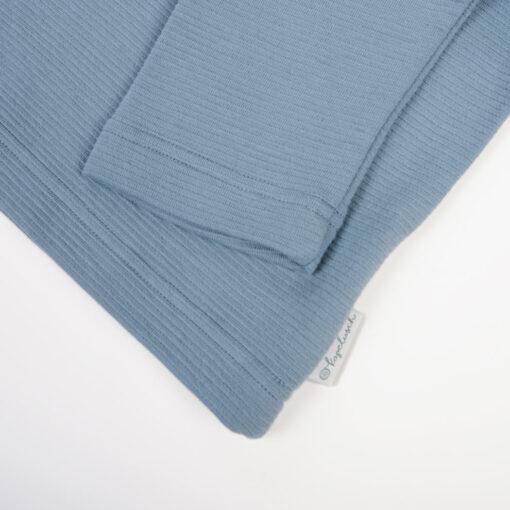 Bio Sweatshirt für Mädchen taubenblau aus gerippter Baumwolle