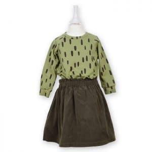 Bio Kinder Sweatshirt PIEK olivgrün mit braunem Printmuster