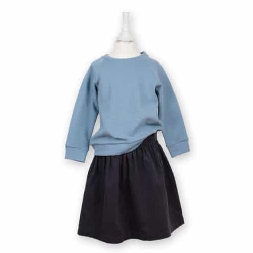 Cordrock für Mädchen anthrazit mit Oberteil in taubenblau