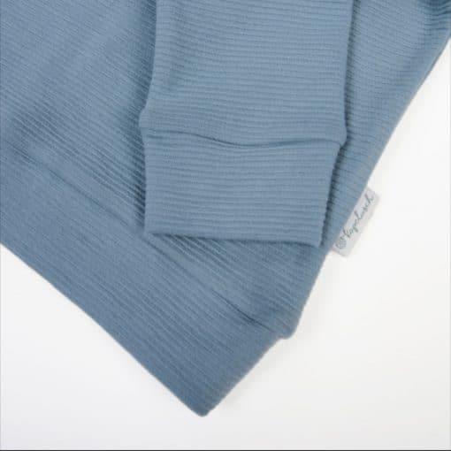 Bio Sweatshirt für Mädchen taubenblau Ausschnitt
