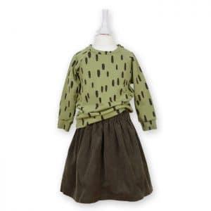 Mädchen Cordrock mit Oberteil in olivgrün