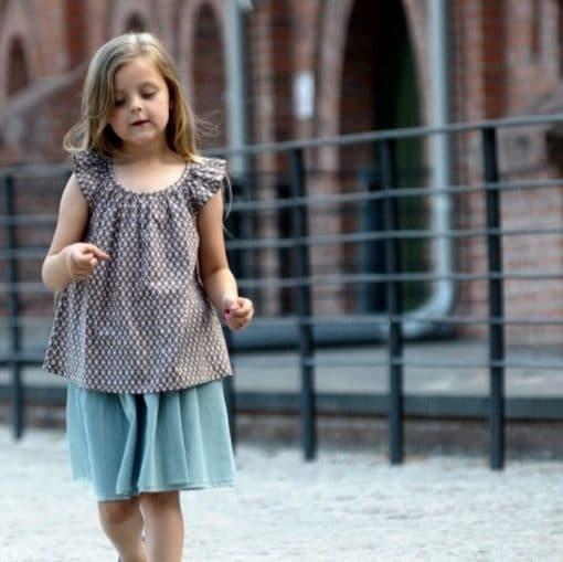 Baumwolltunika für Mädchen mit Flügelärmeln beige-braun gemustert