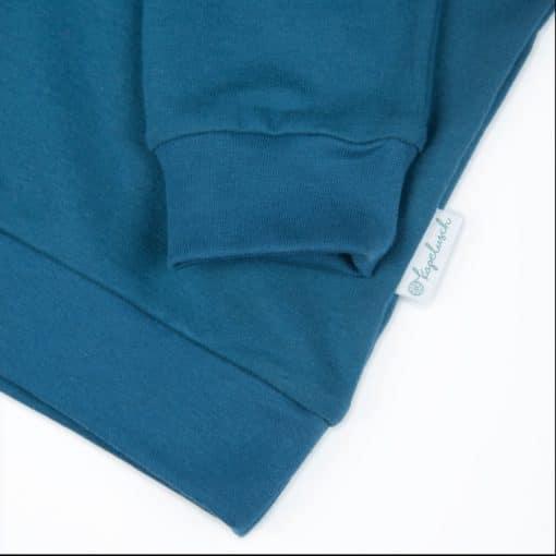 Bio Sommersweater für Kinder in petrol Ausschnitt