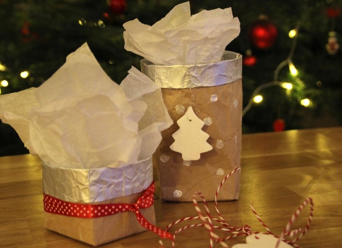 Nachhaltige Geschenkverpackung aus Milchtüten