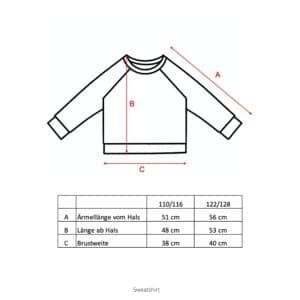 Größentabelle Sweatshirt für Kinder