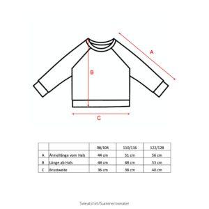Größentabelle Sweatshirts Summer