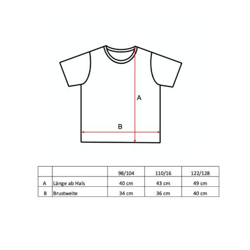 Grössentabelle T-Shirt für Kinder