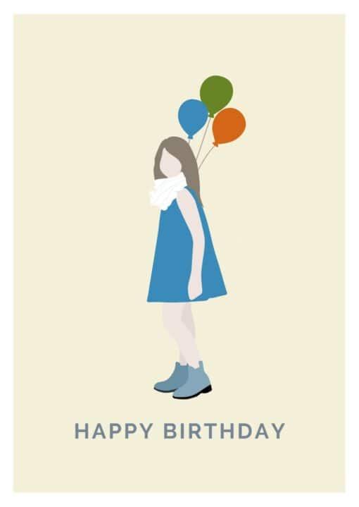 Geburtstagskarte Mädchen mit den Luftballons