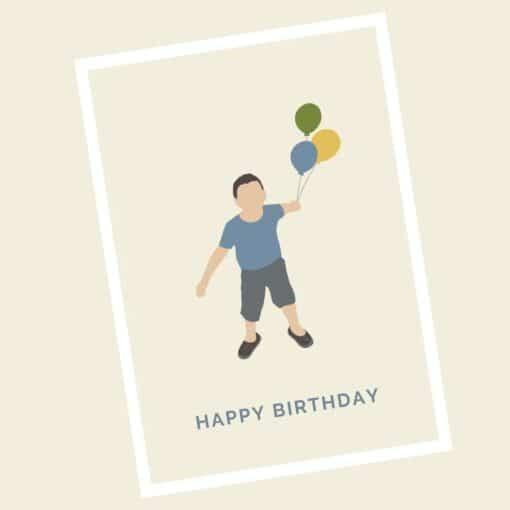 Happy Birthday Karte Junge mit den Luftballons